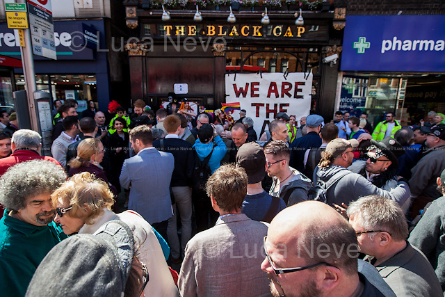 London, 18/04/2015. Today, a protest was held against the closure of the historic &quot;The Black Cap&quot; pub in Camden.  From the organisers Facebook page: &lt;&lt;A Protest against the closure of the Black Cap Pub last Sunday in order to end a 50 years LGBTQI association after the venue was listed as Asset of Community value by Camden LGBT group, four days earlier&gt;&gt;.<br />