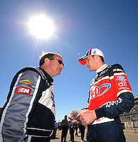Feb 10, 2008; Daytona Beach, FL, USA; Nascar Sprint Cup Series driver Ken Schrader (left) talks with David Ragan during qualifying for the Daytona 500 at Daytona International Speedway. Mandatory Credit: Mark J. Rebilas-US PRESSWIRE