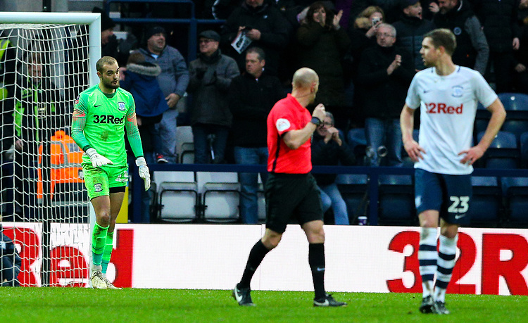 Preston North End's Michael Crowe reacts after conceding a second goal<br /> <br /> Photographer Alex Dodd/CameraSport<br /> <br /> The Emirates FA Cup Third Round - Preston North End v Doncaster Rovers - Sunday 6th January 2019 - Deepdale Stadium - Preston<br />  <br /> World Copyright © 2019 CameraSport. All rights reserved. 43 Linden Ave. Countesthorpe. Leicester. England. LE8 5PG - Tel: +44 (0) 116 277 4147 - admin@camerasport.com - www.camerasport.com