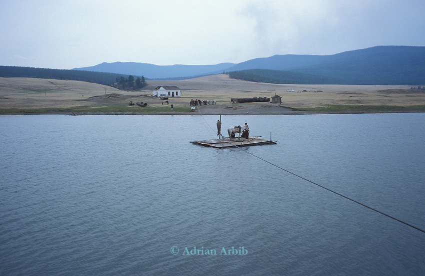 A ferry on  Tsataan Uul lake,   Outer Mongolia.