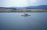 A ferry on  Tsataan Uul lake,   Outer Mongolia.