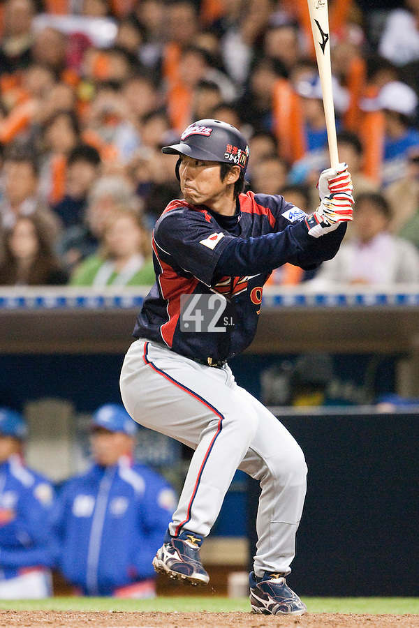 17 March 2009: #9  Michihiro Ogasawara of Japan is seen at bat during the 2009 World Baseball Classic Pool 1 game 4 at Petco Park in San Diego, California, USA. Korea wins 4-1 over Japan.