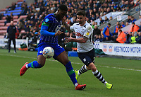 8th February 2020; DW Stadium, Wigan, Greater Manchester, Lancashire, England; English Championship Football, Wigan Athletic versus Preston North End; Tom Barkhuizen of Preston North End takes on Cheyenne Dunleky of Wigan Athletic