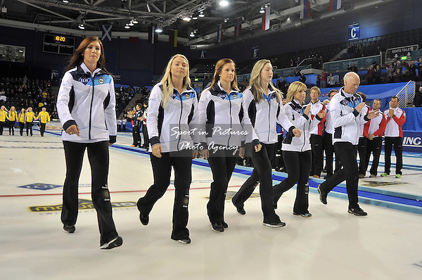 Eve Muirhead (Scotland, left) leads her team down the rink to receive their bronze medals. Mens final. Le Gruyère AOP European Curling Championships 2016. Intu Braehead Arena. Glasgow. Renfrewshire. Scotland. UK. 26/11/2016. ~ MANDATORY CREDIT Garry Bowden/Sport in Pictures - NO UNAUTHORISED USE - +447837 394578