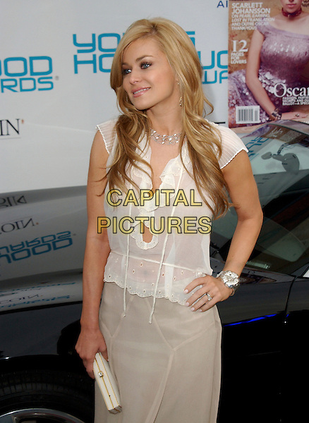 CARMEN ELECTRA.Movieline's Hollywood Life Magazine's 7th Annual Young Hollywood Awards at The Music Box at The Fonda in Hollwyood, California..May 1st, 2005.half length diamond necklace hand on hip white blouse ruffles silver bracelet beige skirt clutch purse .www.capitalpictures.com.sales@capitalpictures.com.Supplied By Capital PIctures