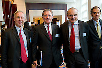 L-R: Paris Europlace Chief Executive Arnaud de Bresson, GDF Suez CEO and Paris Europlace Chairman Gerard Mestrallet, Suez Environnement CEO Jean-Louis Chaussade, Edmond de Rothschild Financial Company Senior Vice President Humbert Garreau de Labarre, arrive at Shanghai / Paris Europlace Financial Forum, in Shanghai, China, on December 1, 2010. Photo by Lucas Schifres/Pictobank