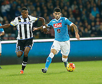 Elseid Hysaj and Edenilson  during the  italian serie a soccer match,between SSC Napoli and Udinese      at  the San  Paolo   stadium in Naples  Italy , November 08, 2015