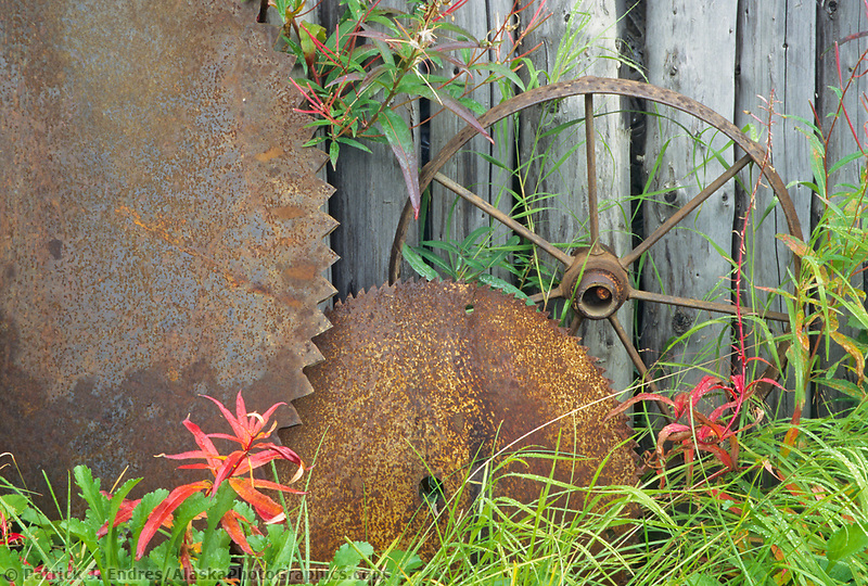 Rusty sawmill parts, Joy, Alaska