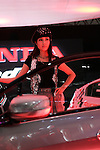 Jan 15, 2010 - Chiba, Japan - A model poses beside a Modulo Insight customized by Honda during the Tokyo Auto Salon 2010 in Chiba, suburb Tokyo, on January 15, 2010. More than 400 companies, associations and groups are displaying more than 600 custom vehicules in the Japan's biggest tuning show which takes place between January 15 and 17. (Photo Laurent Benchana/Nippon News)