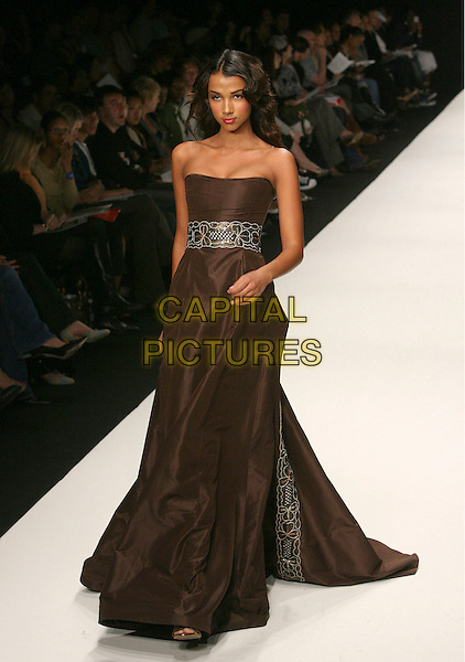 MODEL.Mercedes-Benz Fall 2006 L.A. Fashion Week - Anthony Franco held at Smashbox Studios, Culver City, California, USA..March 22nd, 2006.Photo: Zach Lipp/AdMedia/Capital Pictures.Ref: ZL/ADM.catwalk runway full length brown dress strapless.www.capitalpictures.com .sales@capitalpictures.com.© Capital Pictures.