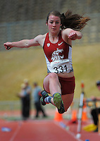 Greer Alsop competes in the senior women's triple jump on day three of the 2015 National Track and Field Championships at Newtown Park, Wellington, New Zealand on Sunday, 8 March 2015. Photo: Dave Lintott / lintottphoto.co.nz