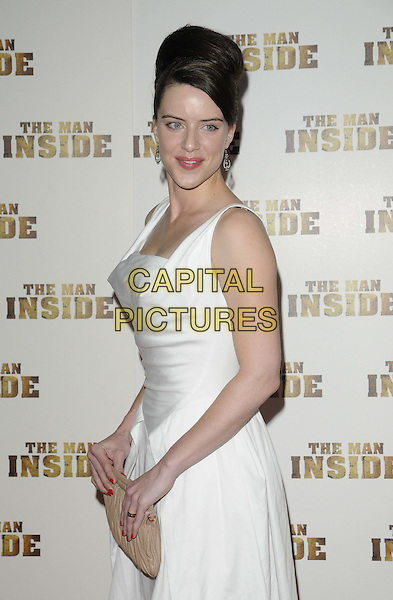 Michelle Ryan.The 'The Man Inside' UK film premiere, Vue West End cinema, Leicester Square, London, England..July 24th, 2012.half length white dress sleeveless beige clutch bag side hair up side .CAP/CAN.©Can Nguyen/Capital Pictures.