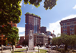 The Woodward's Building with trees on top of the roof, view from the Victory square in the Downtown Eastside of Vancouver, British Columbia, Canada. Image © MaximImages, License at https://www.maximimages.com