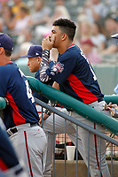 Potomac Nationals shortstop Luis Garcia (16) in the dugout during a game against the Myrtle Beach Pelicans at Ticketreturn.com Field at Pelicans Ballpark on July 19, 2018 in Myrtle Beach, South Carolina. Potomac defeated Myrtle Beach 6-3. (Robert Gurganus/Four Seam Images)