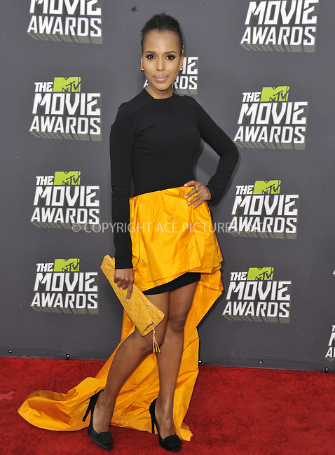 WWW.ACEPIXS.COM....April 14 2013, LA......Kerry Washington arriving at the 2013 MTV Movie Awards at Sony Pictures Studios on April 14, 2013 in Culver City, California. ....By Line: Peter West/ACE Pictures......ACE Pictures, Inc...tel: 646 769 0430..Email: info@acepixs.com..www.acepixs.com