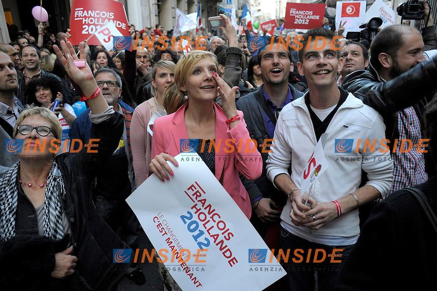 Sede della federazione socialista dopo l'annuncio della vittoria di Francois Hollande..06/05/2012 Marsiglia.Foto Insidefoto / Frank Pennant / Panoramic..Only Italy