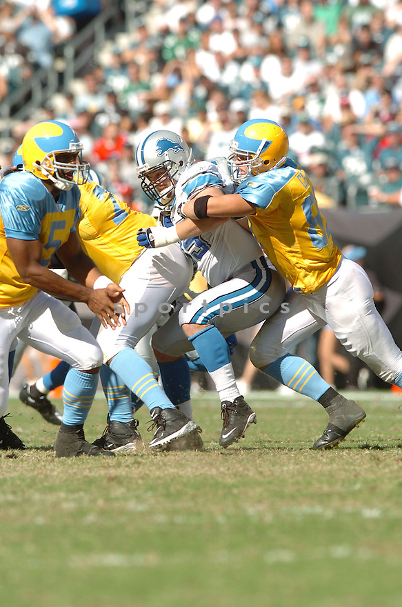 JARED DEVRIES, of the Detroit Lions, in action during the LIons games against the Philadelphia Eagles, in Philadelphia, PA on September 23, 2007.  The Eagles won the game 56-21...........