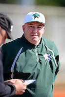 Chicago State University Cougars head coach Steve Joslyn before a game against the St. Bonaventure Bonnies at South County Regional Park on March 3, 2013 in Punta Gorda, Florida.  (Mike Janes/Four Seam Images)