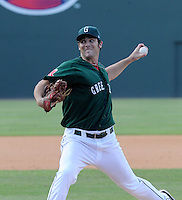Pitcher Kevin Brahney (19) of the Greenville Drive in a game against the Asheville Tourists on Sunday, August 26, 2012, at Fluor Field at the West End in Greenville, South Carolina. Greenville won, 5-4. (Tom Priddy/Four Seam Images)