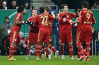 FUSSBALL  DFB-POKAL  ACHTELFINALE  SAISON 2012/2013    FC Augsburg - FC Bayern Muenchen        18.12.2012 Dante , Xherdan Shaqiri , David Alaba , Javi , Javier Martinez (v.li., FC Bayern Muenchen)