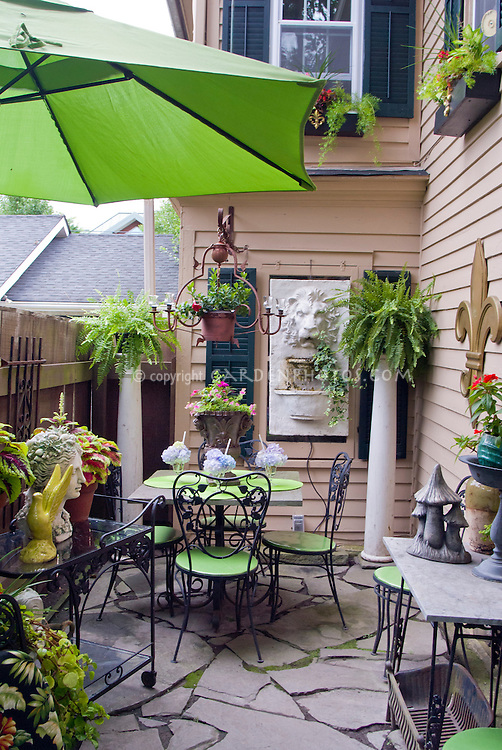 Attractive Small Patio Garden With House, Shade, Umbrella, Garden Furniture, Pot  Containers,