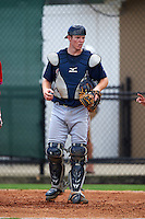 GCL Braves catcher Alan Crowley (62) during a game against the GCL Phillies on August 3, 2016 at the Carpenter Complex in Clearwater, Florida.  GCL Phillies defeated GCL Braves 4-3 in a rain shortened six inning game.  (Mike Janes/Four Seam Images)