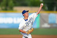 Burlington Royals starting pitcher Garrett Davila (19) in action against the Kingsport Mets at Burlington Athletic Stadium on July 18, 2016 in Burlington, North Carolina.  The Royals defeated the Mets 8-2.  (Brian Westerholt/Four Seam Images)