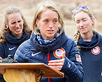 EAST MONTPELIER - USA Vermont Olympians speak at Morse Farm about the influence of climate change on winter sports they have experienced world wide and make suggestions on attacking the problem. Speaking, Liz Stephens, L/R  Susan Dunklee, Hannah Dreissigacker