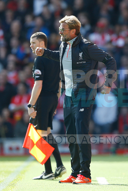 Jurgen Klopp manager of Liverpool during the English Premier League match at Anfield Stadium, Liverpool. Picture date: April 1st 2017. Pic credit should read: Simon Bellis/Sportimage