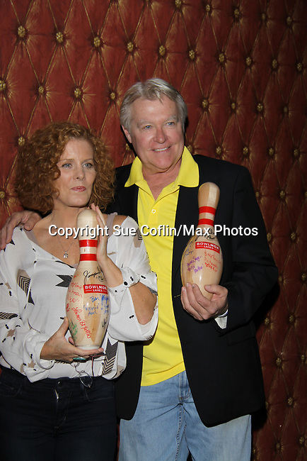 One Life To Live Jerry verDorn (GL) and Guiding Light Liz Keifer host the 10th Annual Daytime Stars and Strikes Charity Event to benefit the American Cancer Society on October 13, 2013 at Bowlmor Lanes, New York City, New York.  (Photo by Sue Coflin/Max Photos)