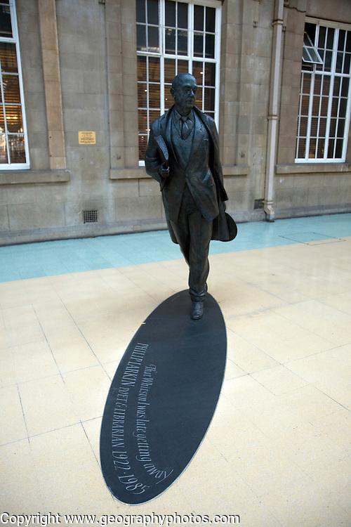 Philip Larkin statue, railway station concourse, Hull, Yorkshire, England