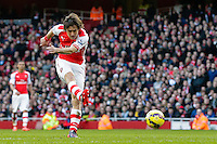 01.03.2015.  London, England. Barclays Premier League. Arsenal versus Everton.  Arsenal's Tomas Rosicky scores to make it 2-0