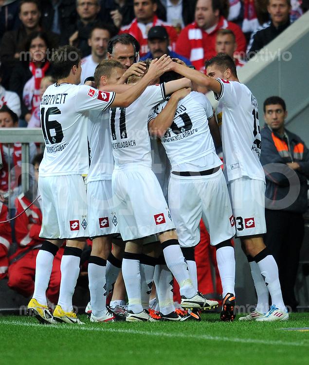FUSSBALL   1. BUNDESLIGA  SAISON 2011/2012   1. Spieltag FC Bayern Muenchen - Borussia Moenchengladbach           07.08.2011 JUBEL nach dem Tor zum 0:1 Borussia Moenchengladbach