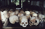 SKULLS OF CAMBODIAN VICTIMS ON DISPLAY AT GENOCIDE MUSEUM