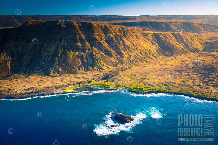 An aerial view of Halape and Halape Trail in Hawai'i Volcanoes National Park, southeastern Big Island; Keaoi Island is in the foreground.