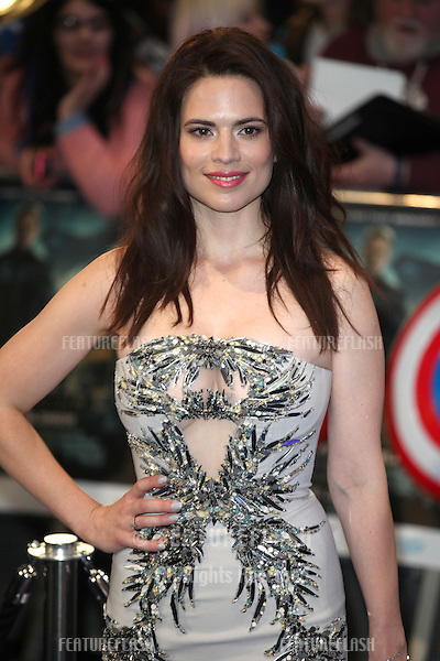 Hayley Atwell arriving at the Captain America: The Winter Soldier UK Premiere, Westfield, London. 20/03/2014 Picture by: Alexandra Glen / Featureflash
