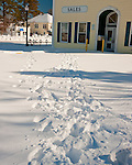 Tracks crossing the snowy parking lot outside Lingo Realtors tell the whole story the morning after the blizzard of February 2010 in Rehoboth Beach, Delaware, USA.