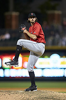 Indianapolis Indians relief pitcher Clay Holmes (46) in action against the Charlotte Knights at BB&T BallPark on April 27, 2019 in Charlotte, North Carolina. The Indians defeated the Knights 8-4. (Brian Westerholt/Four Seam Images)
