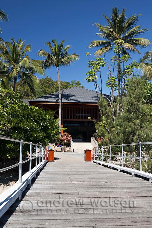 View along jetty to Fitzroy Island Resort.  Fitzroy Island National Park, Cairns, Queensland, Austtralia
