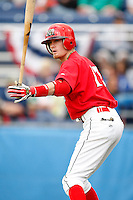 July 3, 2009:  Shortstop Ryan Jackson of the Batavia Muckdogs on deck during a game at Dwyer Stadium in Batavia, NY.  The Muckdogs are the NY-Penn League Short-Season Class-A affiliate of the St. Louis Cardinals.  Photo By Mike Janes/Four Seam Images