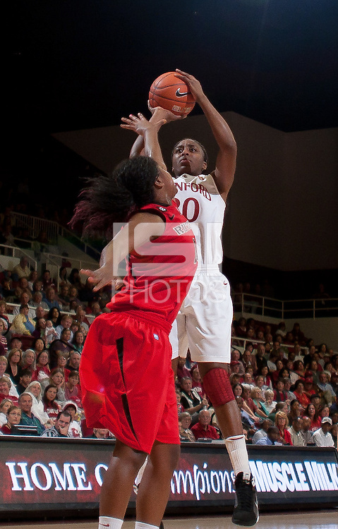 STANFORD, CA - November 14, 2010: Nnemkadi Ogwumike during a basketball game against Rutgers at Stanford University in Stanford, California. Stanford won 63-50.