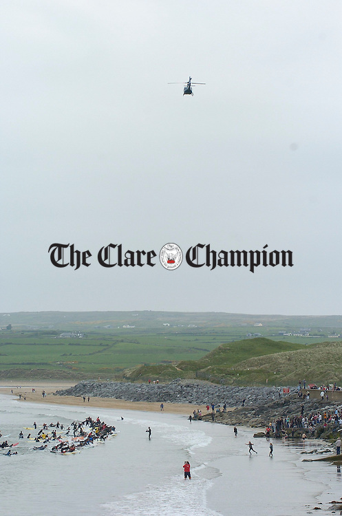 Those lucky enough to be travelling by helicopter had the best view of the Lahinch Surfschool Crew's Surfing World Record Festival at Lahinch beach. Photograph by John Kelly.
