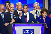 State Senator Adriano Espaillat (Democrat of New York) is surrounded by New York politicians as he makes remarks at the 2016 Democratic National Convention at the Wells Fargo Center in Philadelphia, Pennsylvania on Monday, July 25, 2016.<br /> Credit: Ron Sachs / CNP<br /> (RESTRICTION: NO New York or New Jersey Newspapers or newspapers within a 75 mile radius of New York City)