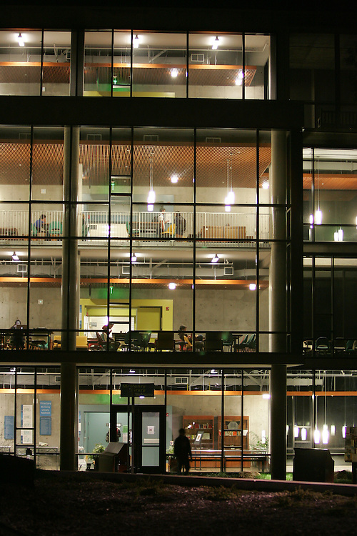 October 21, 2008; Santa Cruz, CA, USA; Exterior nighttime view of McHenry Library on the campus of UC Santa Cruz. Photo By: Phillip Carter
