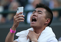A Roger Federer fan <br /> <br /> Roger Federer (SUI) versus Kevin Anderson (RSA) in their Men's Quarter Final match<br /> <br /> Photographer Rob Newell/CameraSport<br /> <br /> Wimbledon Lawn Tennis Championships - Day 9 - Wedesday 11th July 2018 -  All England Lawn Tennis and Croquet Club - Wimbledon - London - England<br /> <br /> World Copyright &not;&uml;&not;&copy; 2017 CameraSport. All rights reserved. 43 Linden Ave. Countesthorpe. Leicester. England. LE8 5PG - Tel: +44 (0) 116 277 4147 - admin@camerasport.com - www.camerasport.com