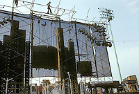 Roadies Rigging - topping off the Wall of Sound - for the Grateful Dead Concert at Dillon Stadium, Hartford, CT 31 July 1974. We're all kinda waiting for the Band, it's close to 6PM and these guys are still monkeying around :)
