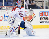 Brian Robbins (UML - 30) - The University of Massachusetts-Lowell River Hawks defeated the University of Alabama-Huntsville Chargers 3-0 on Friday, November 25, 2011, at Tsongas Center in Lowell, Massachusetts.