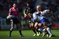 Kahn Fotuali'i of Samoa passes the ball. Rugby World Cup Pool B match between Samoa and the USA on September 20, 2015 at the Brighton Community Stadium in Brighton, England. Photo by: Patrick Khachfe / Onside Images