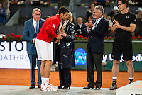 Serbian Novak Djokovic, Manolo Santana, Madrid Mayor Manuela Carmena and the president of Mutua Madrileña Ignacio Garralda during  TPA Finals Mutua Madrid Open Tennis 2016 in Madrid, May 08, 2016. (ALTERPHOTOS/BorjaB.Hojas) /NortePhoto.com