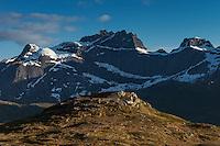 East face of Stjerntind rises over landscape, Flakstadøy, Lofoten Islands, Norway